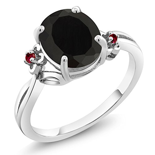 (Gem Stone King 2.53 Ct Oval Black Onyx Red Created Ruby 925 Sterling Silver Ring (Size 6))