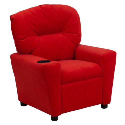 Winston Direct Kids' Series Contemporary Red Microfiber Recliner with Cup Holder