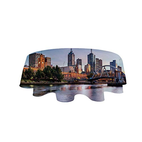 YOLIYANA City Tablecloth,Early Morning Scenery in Melbourne Australia Famous Yarra River Scenic for Café,63