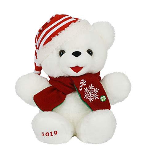 "Dept18 12"" Christmas 2019 Holiday Bear Little Stuffed Plush Animal Keepsake (White Boy Bear Small Red Scarf)"