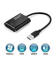 HOPLAZA Adaptateur USB 3.0 vers HDMI, vidéo HD 1080P Adaptateur convertisseur USB vers HDMI avec Sortie Audio Compatible avec Les Ordinateurs Portables TV HDTV Windows 7/8/10 (sans Mac & Vista).