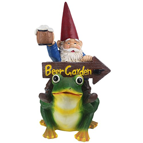 JHB Beer Garden Gnome, Funny Beer Garden Sign, Hand Painted Resin-Perfect for Oktoberfest, Walkways, Gardens, Patios, and Beer Festivals