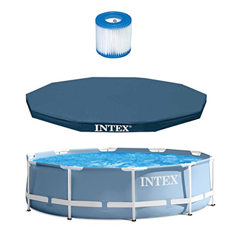 Intex 10' x 30'' Prism Frame Pool + 10' Debris Cover + Type H Cartridge Filter by INTEX