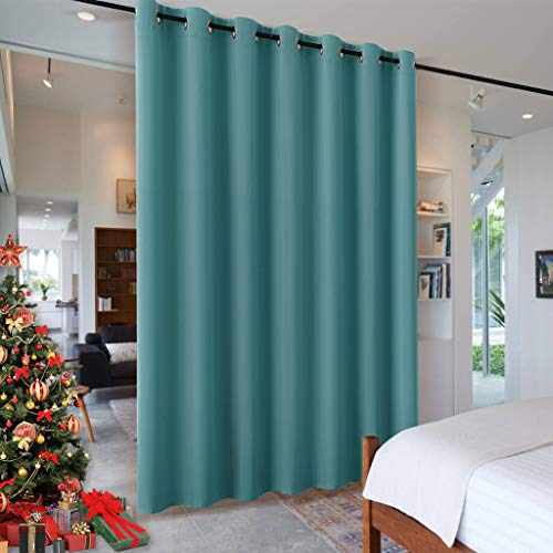 RYB HOME Room Drekening Curtain for Bedroom, Room Divider Curtain Shade Thermal Insulated Grommet Drapes for Patio Sliding Glass Door Living Room, 100 inches Wide x 84 inches Long, Teal (Room Divider Shades)