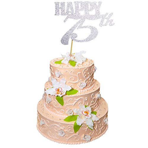 Cheers To 75 Years Banner And Happy 75th Cake Topper Silver Glitter For Birthday Wedding