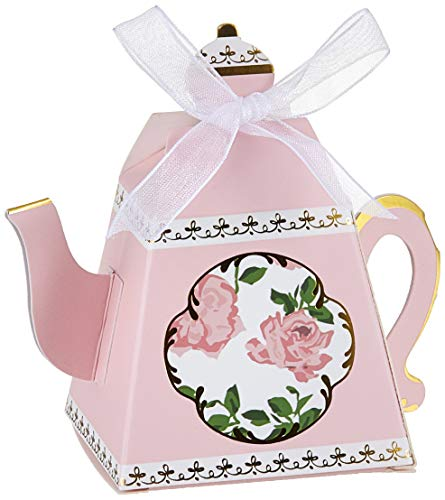 Kate Aspen, Tea Time Whimsy Collection, Teapot Tea Party Favor Box (Set of 24), One Size, Pink ()