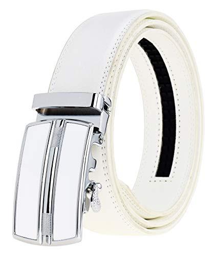 QISHI YUHUA Men's Leather Ratchet Dress White Belt with Automatic Buckle(319-130)