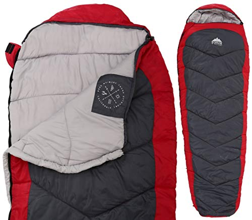 Tough Outdoors All Season Hooded XL Sleeping Bag with Compression Sack - Perfect Compression Sleeping Bag for Backpacking & Camping (Free Spirit XL: 40-65F Temperature Rating) (Bag Sleeping Mummy Zone)