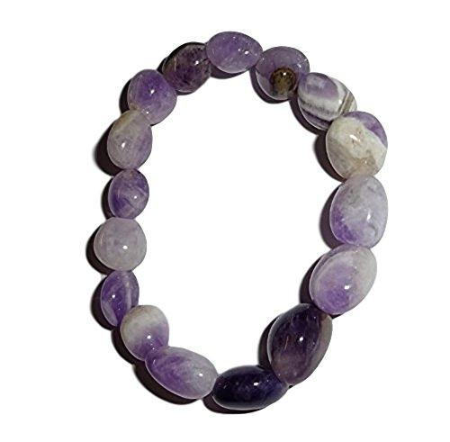 - 1pc A Grade Amethyst Premium Quality Tumbled Crystal Healing Gemstone 6-8 Mm Nugget Beaded Stretch Bracelet