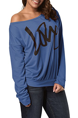 Longues Tee et Casual T Royal Pullover Tops Pulls Jumpers Fashion Shirt Lettre Femmes Printemps Sweat Bleu JackenLOVE Blouse Automne Imprime Hauts Shirts Manches UxgY7H5