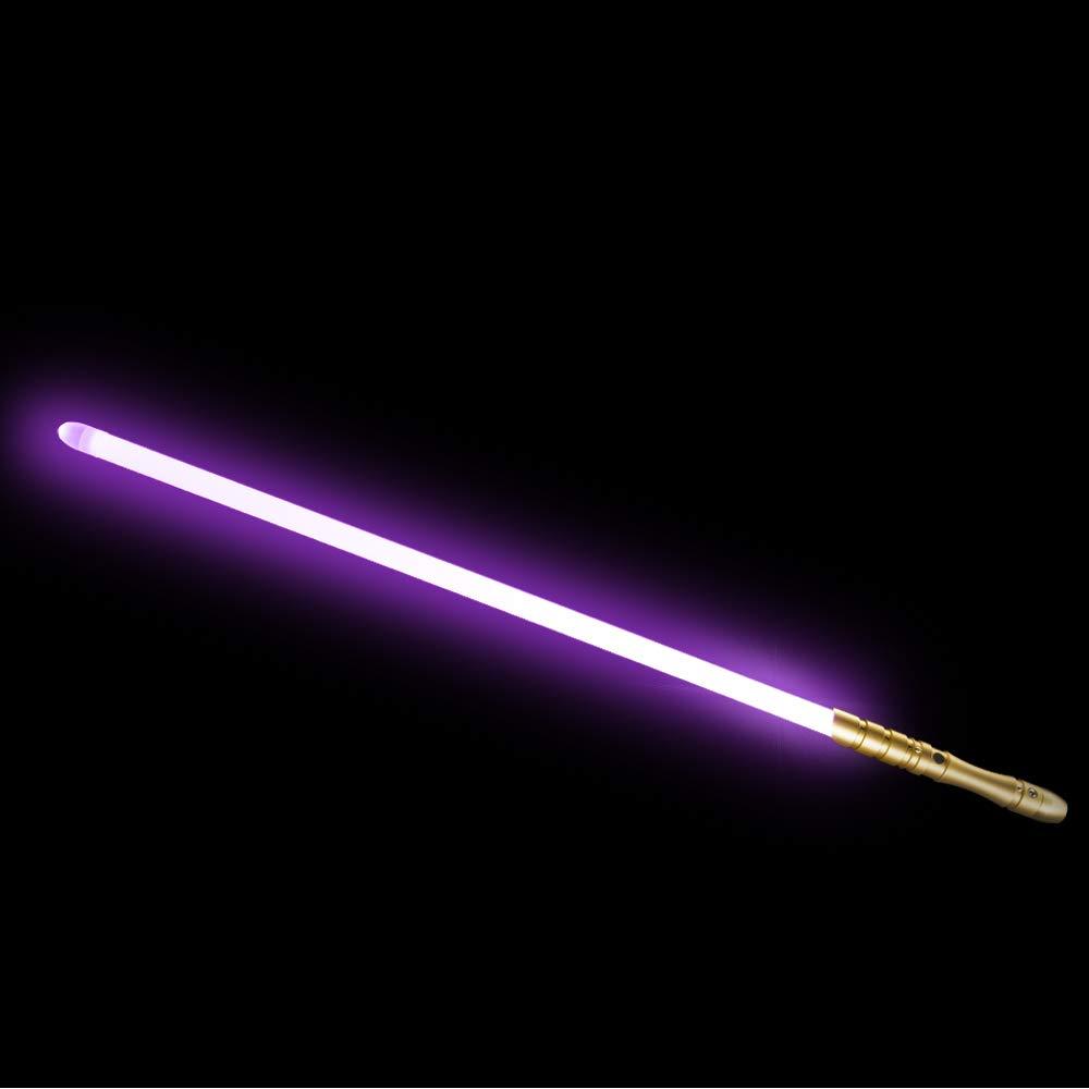 YDD Star Wars LED Light Up Saber Force FX Sword Heavy Dueling, Rechargeable Lightsaber, Loud Sound Hight Light with FOC, Metal Hilt Light Sword , Chrismas Toy Gift for Kids(Gold Hilt Pink Blade) by YDD (Image #1)