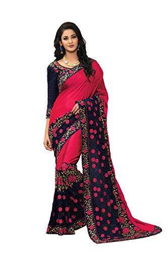 - Online Fayda Women's Silk Saree with Blouse Piece (OF321, Pink, Free Size)