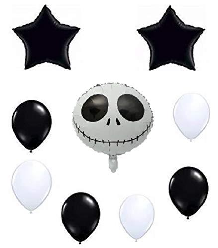 Jack Skellington (Skeleton) Balloon Set - Nightmare Before Christmas Decoration Kit - Holiday Birthday Halloween Party - Bundle by Jolly Jon ®]()