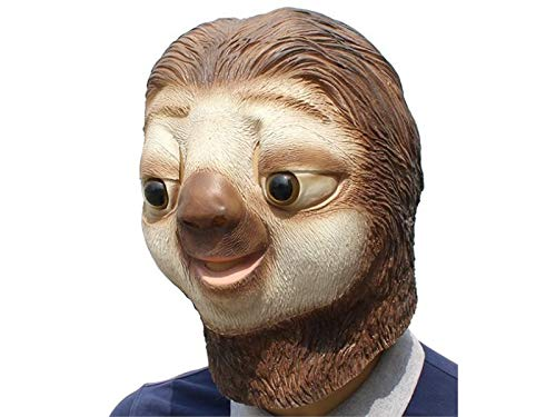 Hezon Happy Festival Funny Latex Sloth Head Cover Mask Horror Tricky Mask for Halloween Party (Brown)