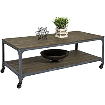 Best Choice Products Industrial Style Wheeled Coffee Table