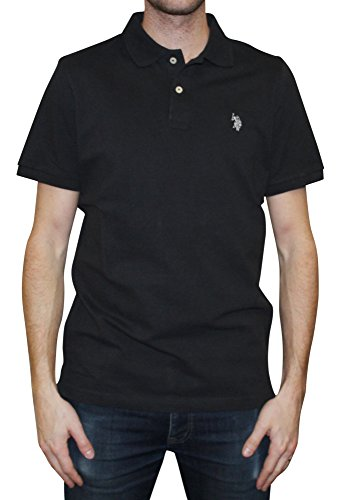 U.S. Polo Assn. Men's Solid Polo With Small Pony, Black/Light Grey, Small