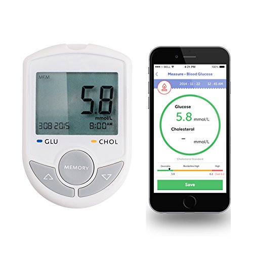 Zinnor-Glucose-Cholesterol-Meter-Monitor-2-in1-Bluetooth-40-Meter-Monitor-with-APP-for-IOS-Android-with-50-Glucose-Free-Test-StripsLancets