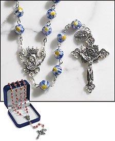 Murano Rosary Crucifix - Paola Carola Antica Tradizione Italiana Sapphire Murano Rosary. 8 Mm Faceted Glass Bead -- 23