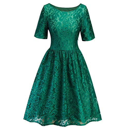 St.Dona Women's Vintage Lace Formal Wedding Cocktail Evening Party Ladies Swing Dress -