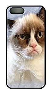 Grumpy Cat in Blue Custom PC Hard For Iphone 5/5S Phone Case Cover Black