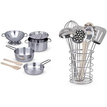 Melissa & Doug Let's Play House Bundle - Pots & Pans and Cooking Utensils