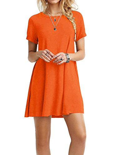 TINYHI Women's Swing Loose Short Sleeve Tshirt Fit Comfy Casual Flowy Tunic Cotton Dress Orange,As_orange,Small