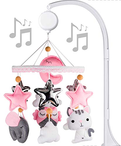 Baby Music Mobile for Girl Felt Nursery Crib Mobile Handmade Baby Shower Gift Crib ARM is Included (Pink Gray)