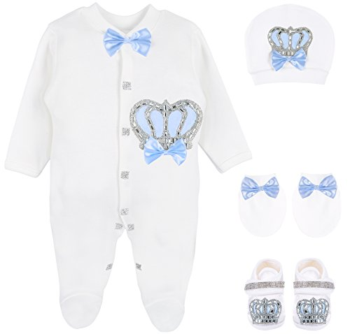 Lilax Baby Boy Newborn Crown Jewels Layette 4 Piece Gift Set 0-3 Months Blue (New Designer Baby Clothing)