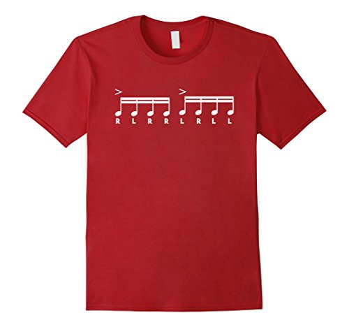 Drummers Drumming Costume (Mens Paradiddle - Funny Drummer Sheet Music Drumming Shirt Large Cranberry)