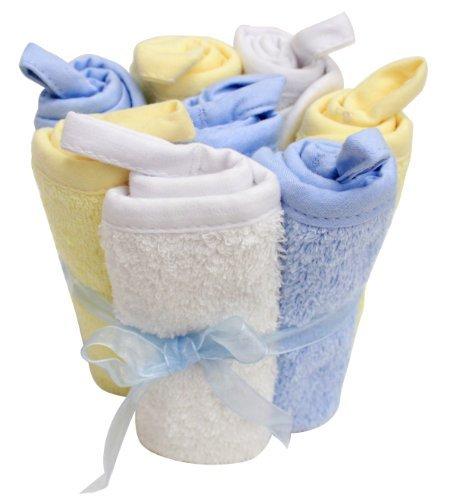 8 Pack Washcloth Set, Blue, White, Yellow, Frenchie Mini Couture by Frenchie Mini Couture