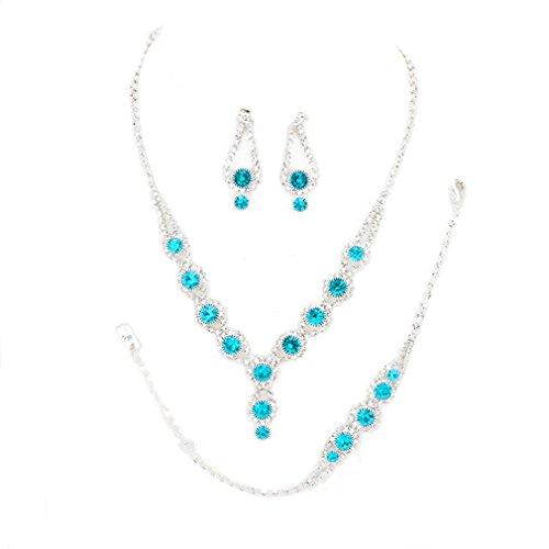 Christina Collection Affordable Wedding Jewelry Clear Bubble Rhinestone Pave Elegant Drop Set 3 Pcs Bracelet Earrings Necklace Set (Aqua (Flower Earrings Costume Jewelry)