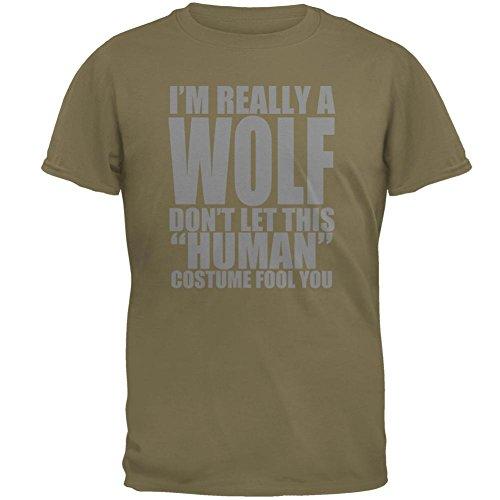 [Human Wolf Costume Mens T Shirt Prairie Dust X-LG] (Human Wolf Costume)