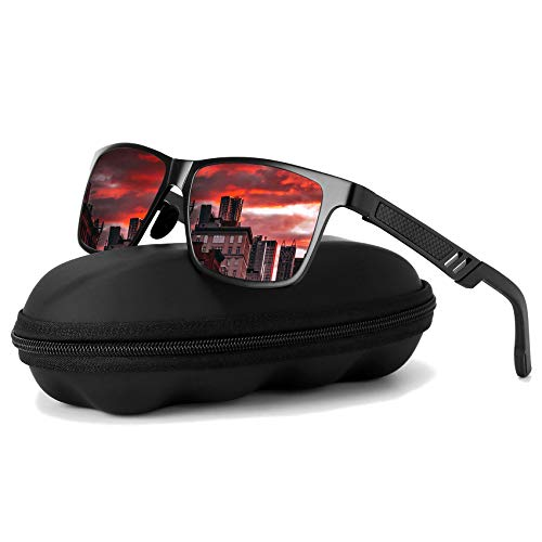 Polarized Driving Sunglasses For Men-GOUDI Mens Women Al-Mg Metal Frame Lightweight Fishing 100% UV Sports Outdoors - Sunglasses Mens Red