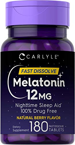 Carlyle Melatonin 12 mg Fast Dissolve 180 Tablets | Nighttime Sleep Aid | Natural Berry Flavor | Vegetarian, Non-GMO…