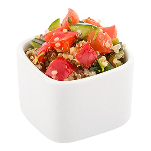 Mini Porcelain Box - Mini Square Porcelain Dish, Mini Quadrato Dish, Square Ramekin - White - 4.5 oz - 10ct Box - Restaurantware