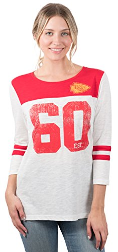 Icer Brands NFL Kansas City Chiefs Women's T-Shirt Vintage 3/4 Long Sleeve Tee Shirt, X-Large, White
