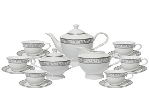 Imperial Gift G1347A-17 17 Piece Greek Key Tea Set Gift Boxed Silver