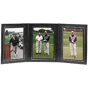 PRESIDENTIAL Triple 5x7 Black leatherette stock photo frame w/gold foil border sold in 2's - 5x7 by TAP®