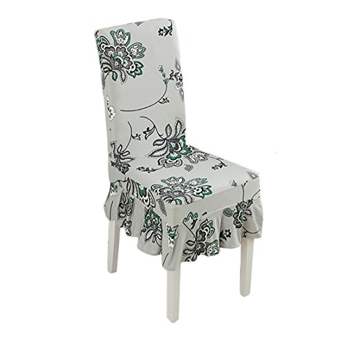 Deisy Dee Strecth Print Pattern Ruffled Long Skirt Dining Chair Covers Slipcovers C100 (Style ()