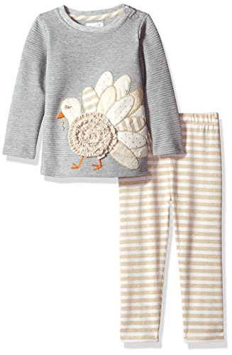 Mud Pie Baby Girls' Turkey Tunic and Legging Set, Gray, 0-6 MOS]()