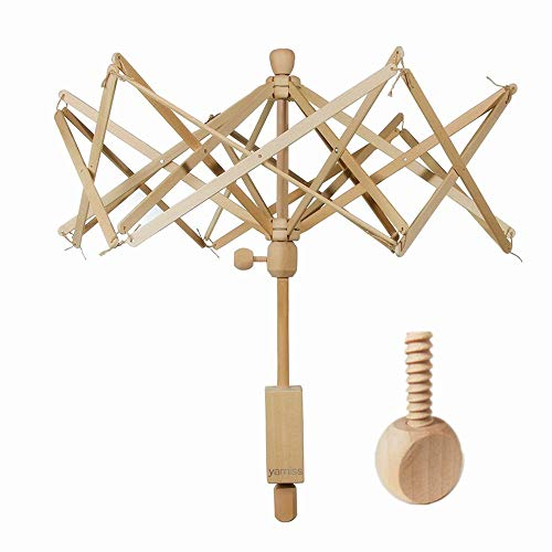 (Yarn Swift,Wooden Umbrella Swift Yarn Winder with Replacement Screw,Wood Swift Yarn Holder,Medium)