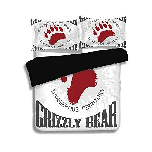 (KUDOUXIA Black Duvet Cover Set King Size,Cabin Decor,Grunge Grizzly Bear Footprint Emblem Dangerous Wildlife Rocky Mountains Decorative,Grey Red White,3 Pcs Bedding Set 2 Pillow Shams)