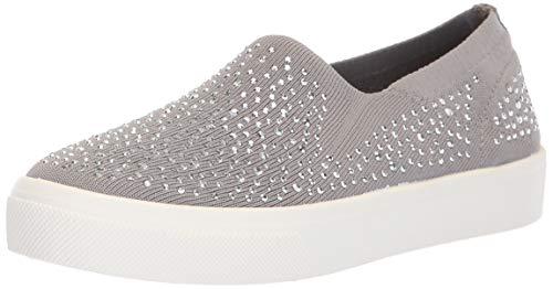 Skechers Women's Poppy-Studded Affair. Scattered Rhinestud Knit Slip on. Sneaker, ltgy, 7 M US