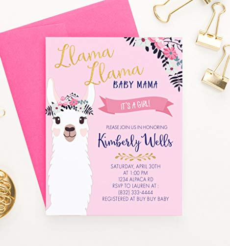(Llama Baby Shower Invitations for Girl, Personalized Llama Invitations Baby Shower, Your choice of Quantity and Envelope Color)