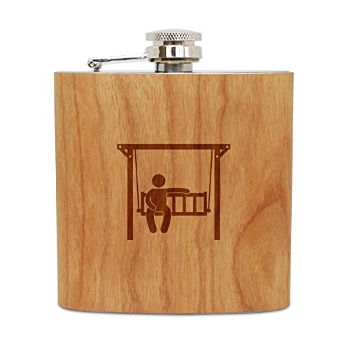 WOODEN ACCESSORIES COMPANY Cherry Wood Flask With Stainless Steel Body - Laser Engraved Flask With Garden Swing Design - 6 Oz Wood Hip Flask Handmade In USA