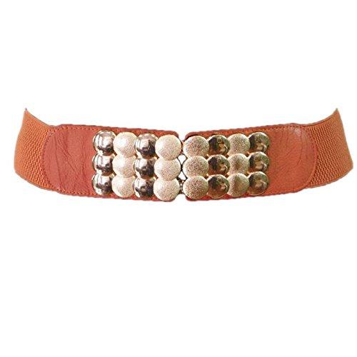 Fashiongen - ceinture élastique boucle doré VELINA - Camel, Taille unique