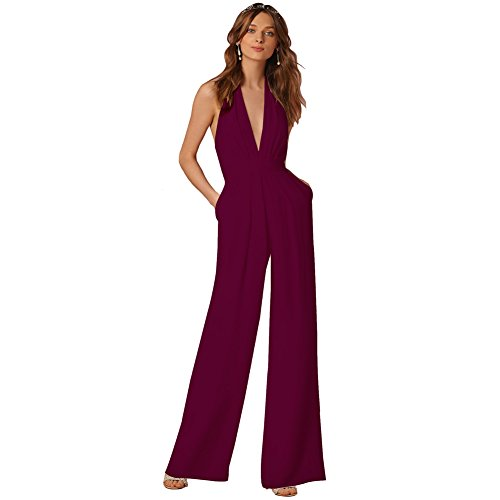Lielisks Sexy Jumpsuits Formal Sleeveless V-neck Halter Wide Leg Long Pants Wine M