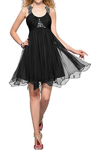 Abendkleider Ivydressing Neu Promkleider Chiffon Schwarz Partykleider Cocktailkleider Damen Rundkragen Kurz Chiffon Vintage rwB6xCSnrq