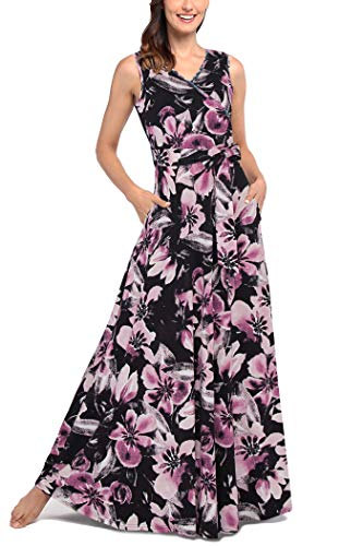 Comila Women's Summer V Neck Floral Maxi Dress Casual Long Dresses with Pockets Plus Size Bohemian Sleeveless Wrap Crossover Pregnancy Maternity Dress Black Purple XXL US(18/20) -