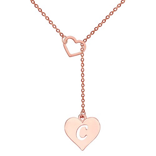 SENFAI Long Necklace Heart Shaped Y Necklace with 26 Initial Alphabet Letters for Women, 18 + 2 inches (C, Rose Gold ()